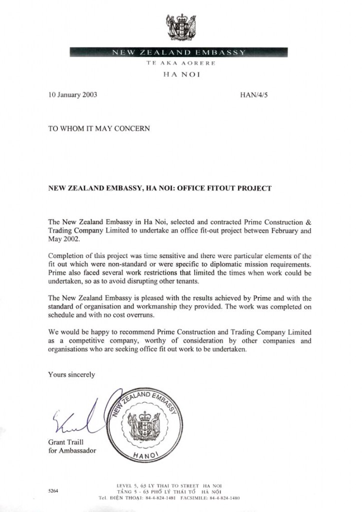 New Zealand Embassy Letter